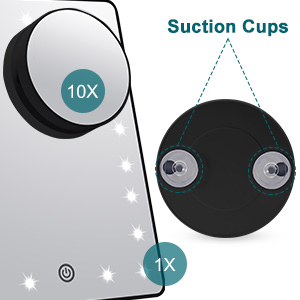 Makeup mirror with suction cup