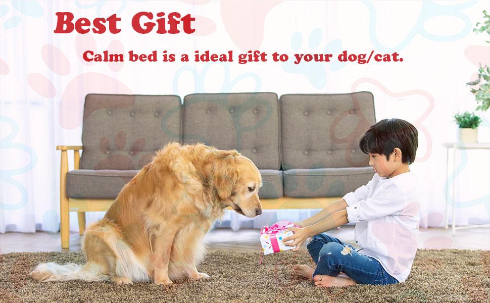 Voqeen Plush Donut Dog's Cat's Bed Round Warm Cuddler Kennel Soft Puppy Sofa Cat Cushion Bed