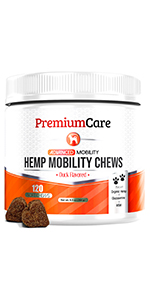 premiun care glucosamine for dogs chews treats hemp mobility