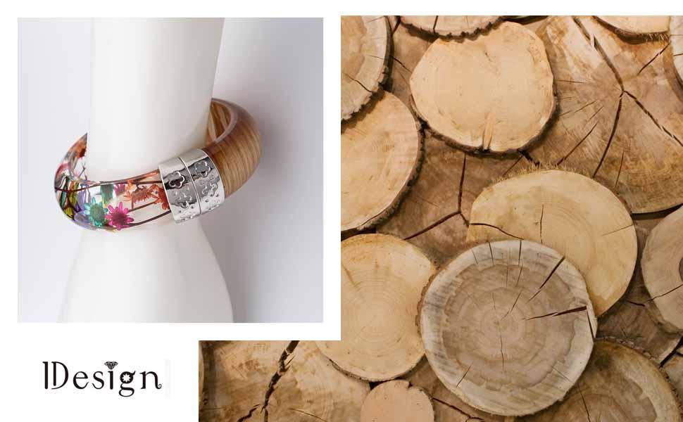 wood flowers bracelet for women