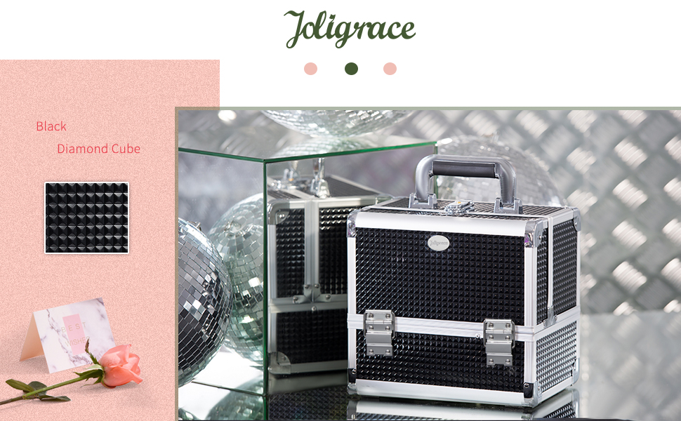glossy shinning glimmering diamond makeup cosmetic train case with mirror and lock brush holder