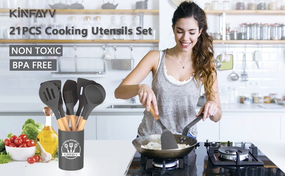 silicone cooking utensils set kitchen utensil set with holder kitchen tools set spatula set