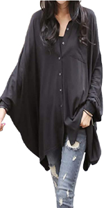oversized batwing blouse button down