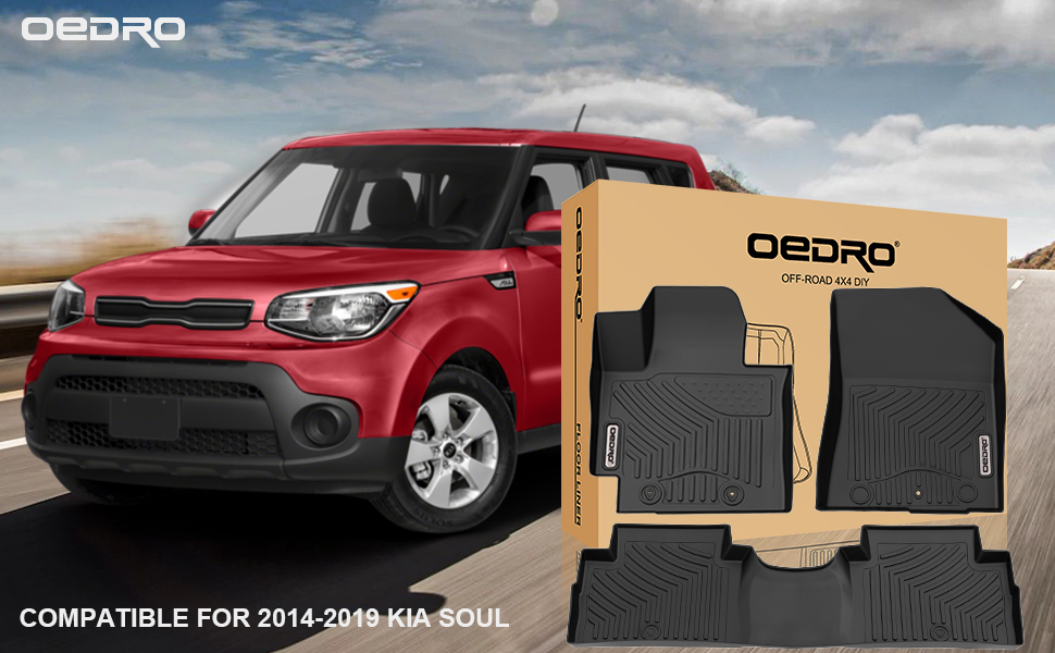 Unique Black TPE All-Weather Guard Includes 1st and 2nd Row: Front oEdRo Floor Mats Compatible for 2014-2019 Kia Soul Rear Full Set Liners