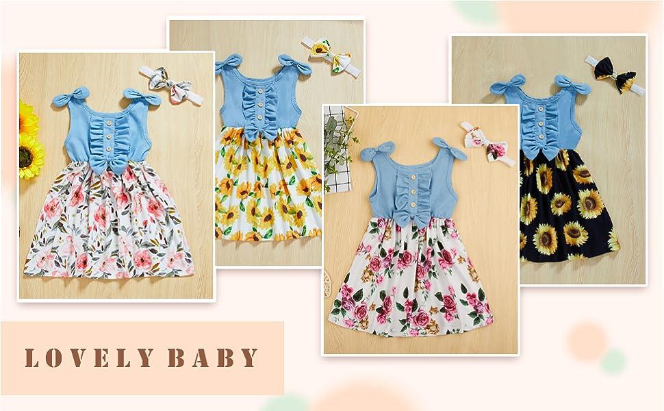 Toddler Girl Bowknot Floral Printed Dress