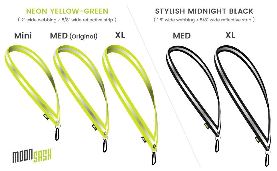 sizes colors mini medium original xl x-large extra large neon yellow green black silver midnight