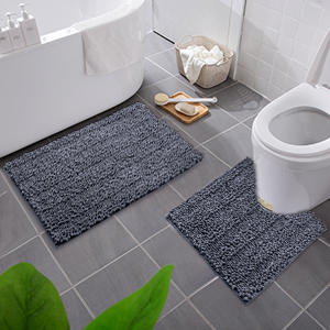 Shower and Bath Room Machine Wash Dry Olanly Bathroom Rugs Set 2 Piece Microfiber Bath Shower Mat and U-Shaped Toilet Rug Non Slip Absorbent Shaggy Bath Rug for Tub 20 x 32+20 x 24, Black