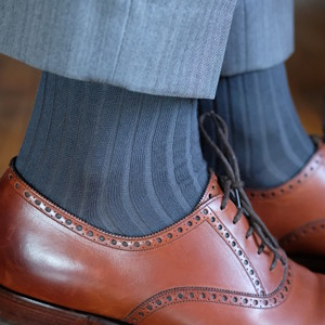 Grey Ribbed Over the Calf Cotton Dress Socks for Men