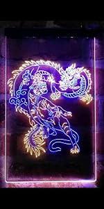 ADVPRO line-art LED neon sign light artwork man cave home decor-ation dragon Tiger Chinese Japanese