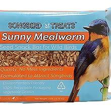 Sunny Mealworm Seed Cake Snack Bar for Wild Birds