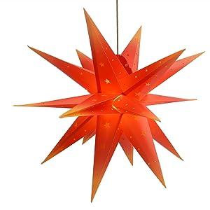 Qijieda-Rot Balkon Und Garten(58cm) Fenster Stern Deko 3D Weihnachtsstern Au/ßen Batterie Timer Partys Oder Weihnachten Dekoration LED Adventsstern Stern F/ür Innenhof