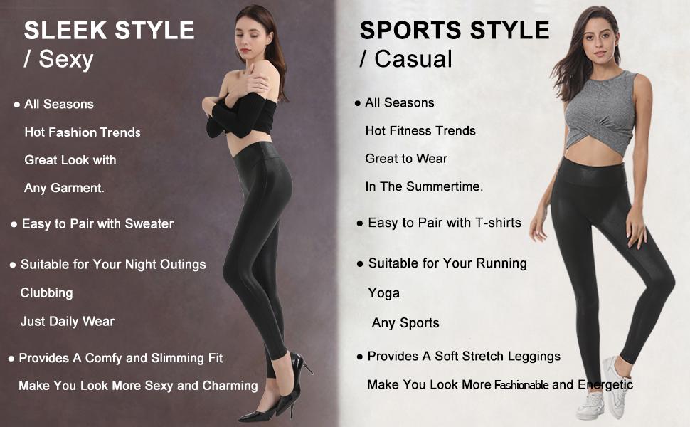 shiny leather leggings for women
