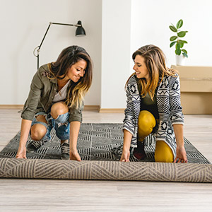 Positioning the rug correctly