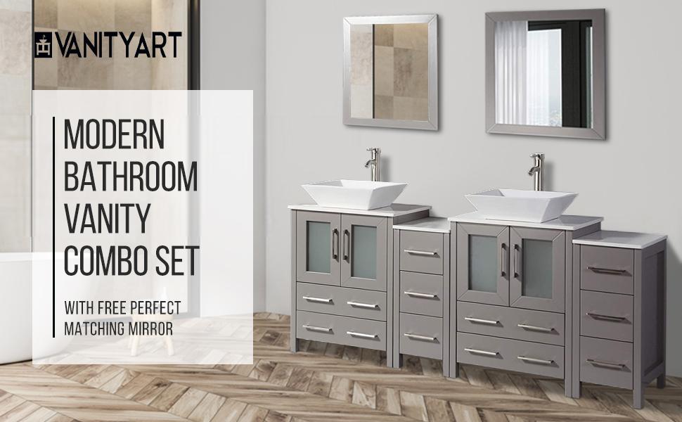 Vanity Art 48 Inch Single Sink Bathroom Vanity Compact Set 3 Cabinets 1 Shelf 8 Drawers Quartz Top And Ceramic Vessel Sink Bathroom Cabinet With Free Mirror Va3124 48 W Kitchen Dining