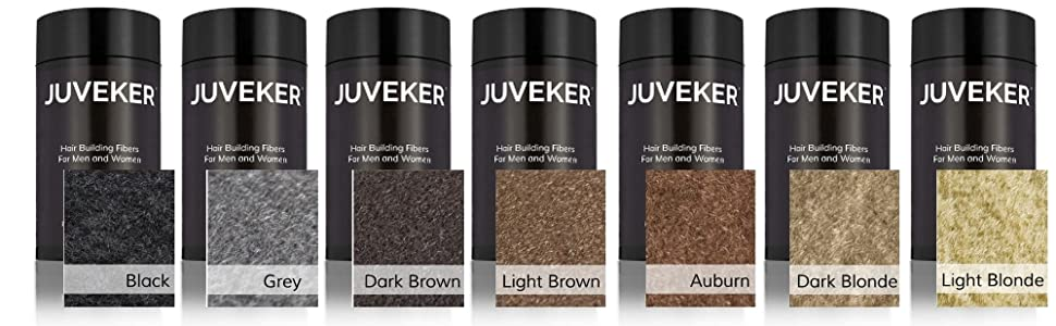 Color Options of Juveker Hair Fibers Black Grey Dark Brown Light Auburn Dark Blonde Gray