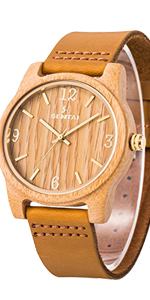 wooden leather watch