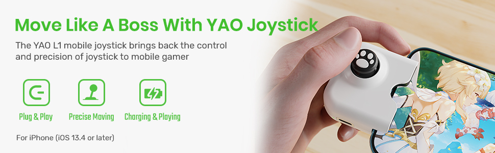 L1 PRO Mobile Game Controller Joystick for iPhone(iOS 13.4 or Later, For iOS Mobile Games)