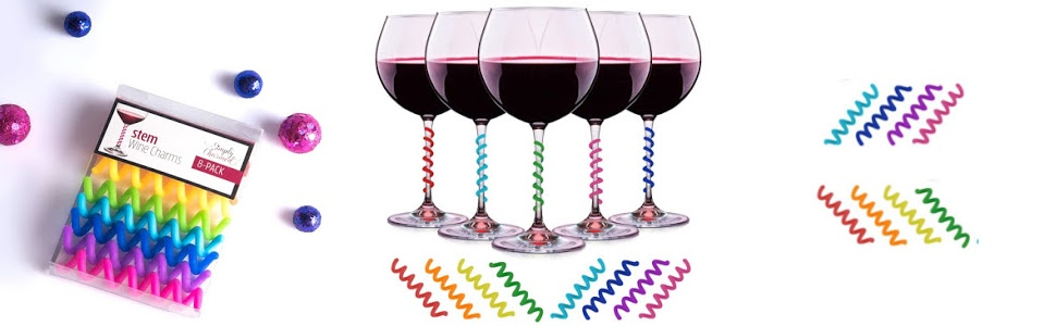 Silicone Spring wine glass charms markers for  stemmed glasses