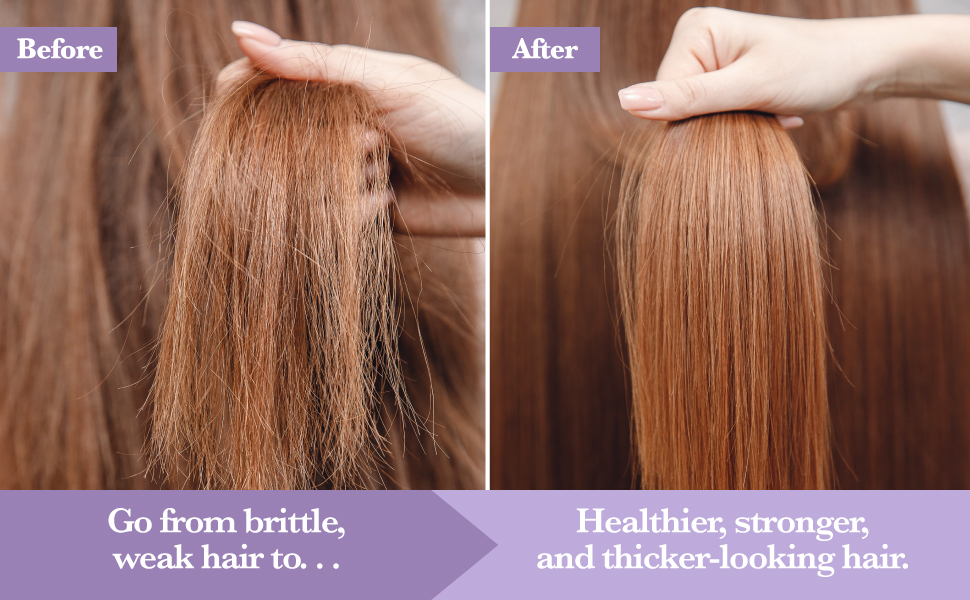 Go from brittle, weak hair to healthier, stronger and thicker-looking hair