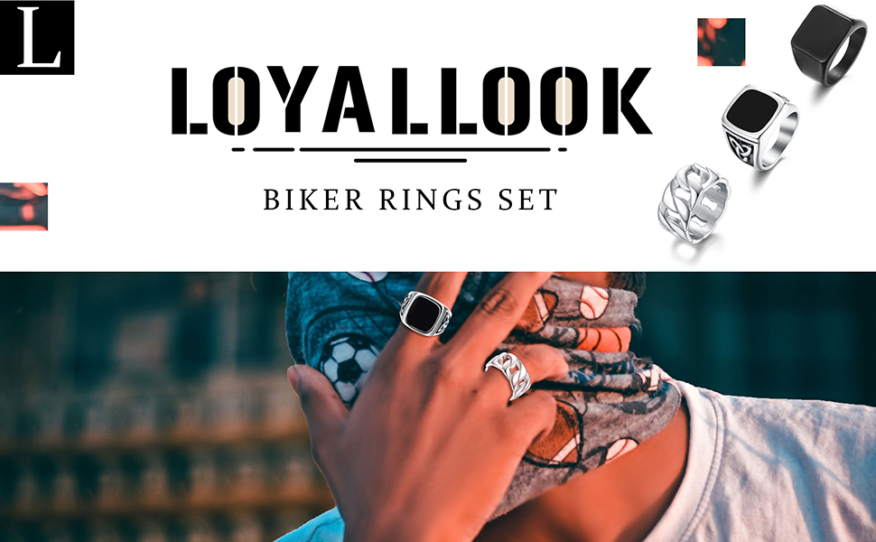Stainless Steel Signet Rings Signet Pinky Rings Cuban Link Chain Ring Square Biker Rings Celtic KnoT