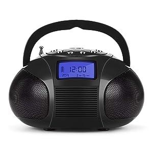 August SE20 Poste Radio FM Enceinte Bluetooth MP3 Bluetooth USB SD MP3 Jack Radio FM Batterie fonction réveil – Noir
