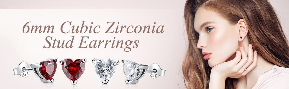 6mm cubic zirconia stud earring S925 allergy free