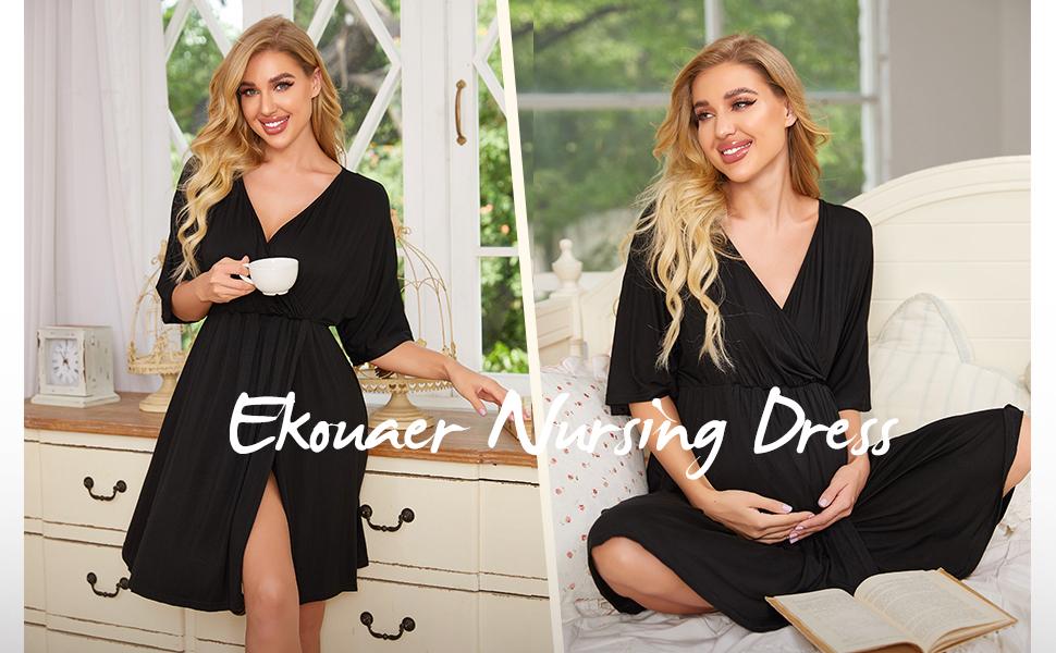 Ekouaer Hospital Nightgown Womens Sleeveless Maternity Nursing Breastfeeding Sleepwear