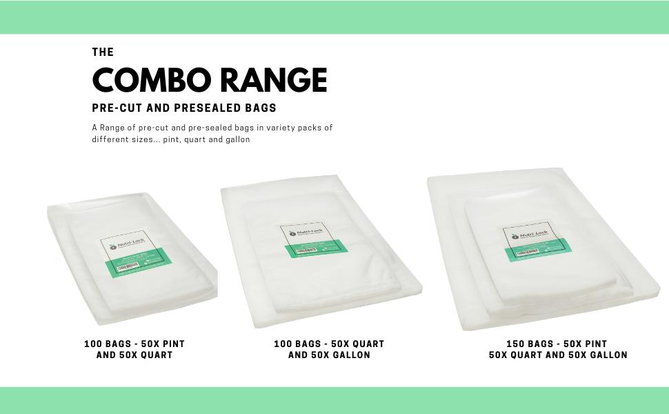 nutri-lock combination vacuum sealer bags range pint quart gallon