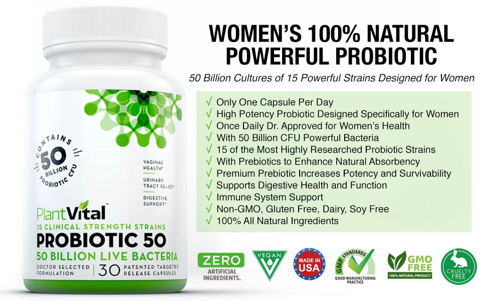 Probiotic womens prebiotic plantvital woman women's bacteria utilization vaginosis