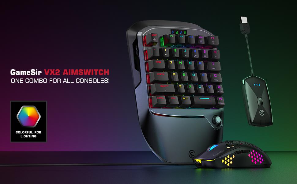 GameSir VX2 AimSwitch Combo de Teclado y Mouse para Juegos Compatible con PS4 / Xbox One/Xbox Series XS/Nintendo Switch/Consola de Juegos para PC con ...