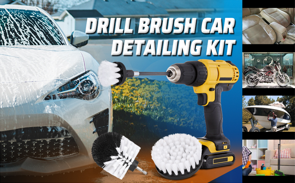 15 Pcs Carpet Mat Round Brush w//Power Drill Attachment Car Care /& Detailing Tool