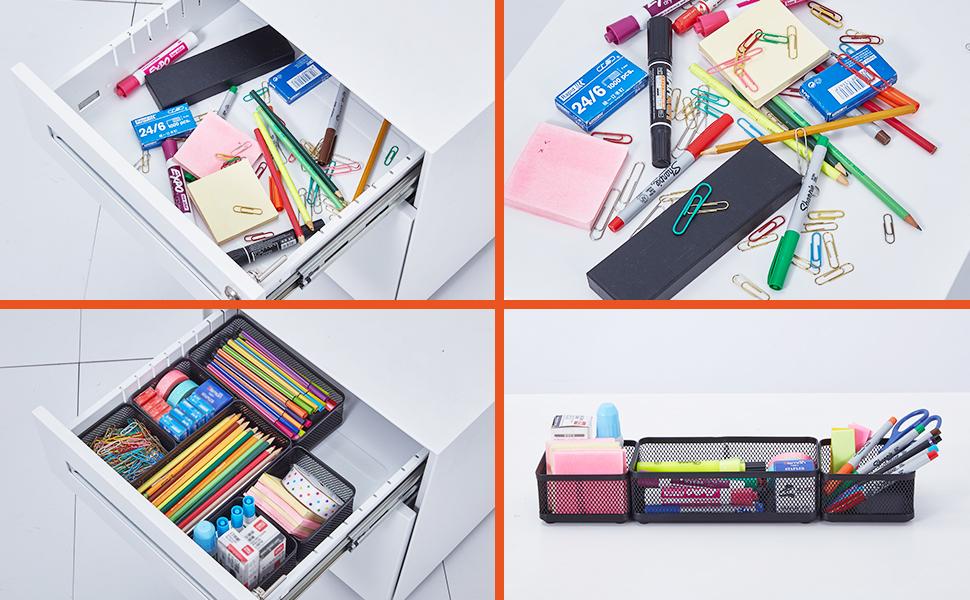 Stackable Drawer Metal Desktop  Holder for Sticky Notes Business Cards Pen  School Office Supplies