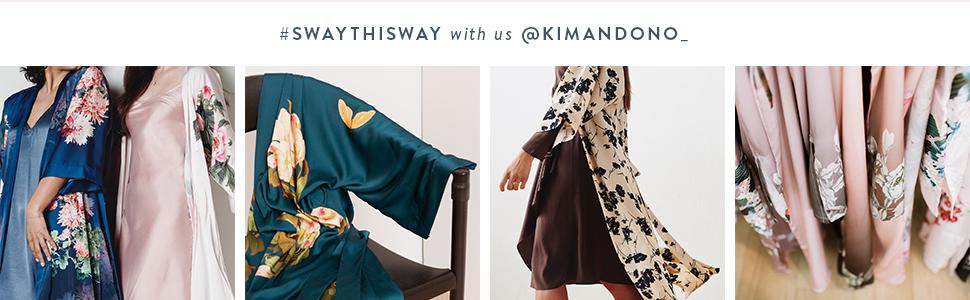 KIM+ONO Women's Satin Kimono Robes Charmeuse Sway This Way #swaythisway with us @kimandono_