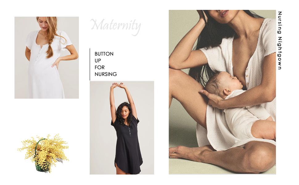 Women's Maternity Dress Nursing Nightgown Breastfeeding Full Slips Sleepwear