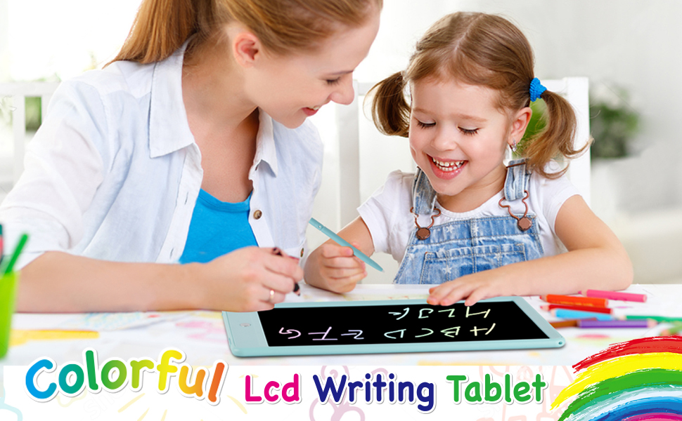 LCD Writing Tablet 10 Inch,Colorful Magnetic Doodle Board Drawing Board, Reusable Writing Pad,