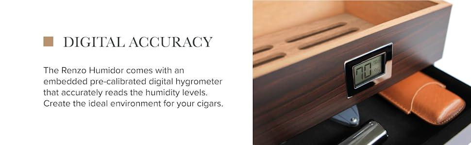 front digital hydrometer hygrometer felt drawer cedar wood inlay walnut finish full grain