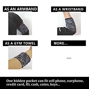 It can be used as wrist and arm or wrist or GYMband/wallet/bags/sleeve/strap/pouch