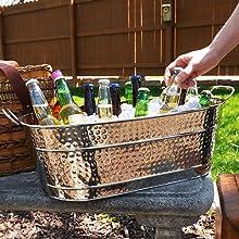 beer, wine, ice, bucket, tub, steel, hammered, premium, outdoor, patio, garden, party, bucket