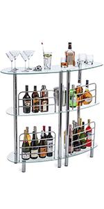 free standing tempered glass mini bar home bar unit