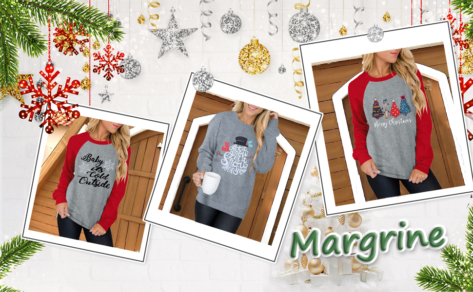 Women Christmas Tree Print Shirt Round Neck Long Sleeve Fun Christmas Pullover Sweatshirt