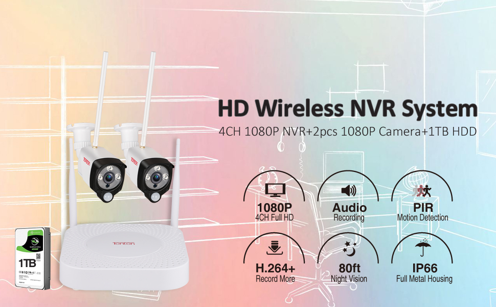 Wireless 4CH NVR with 2 Cameras and 1TB HDD