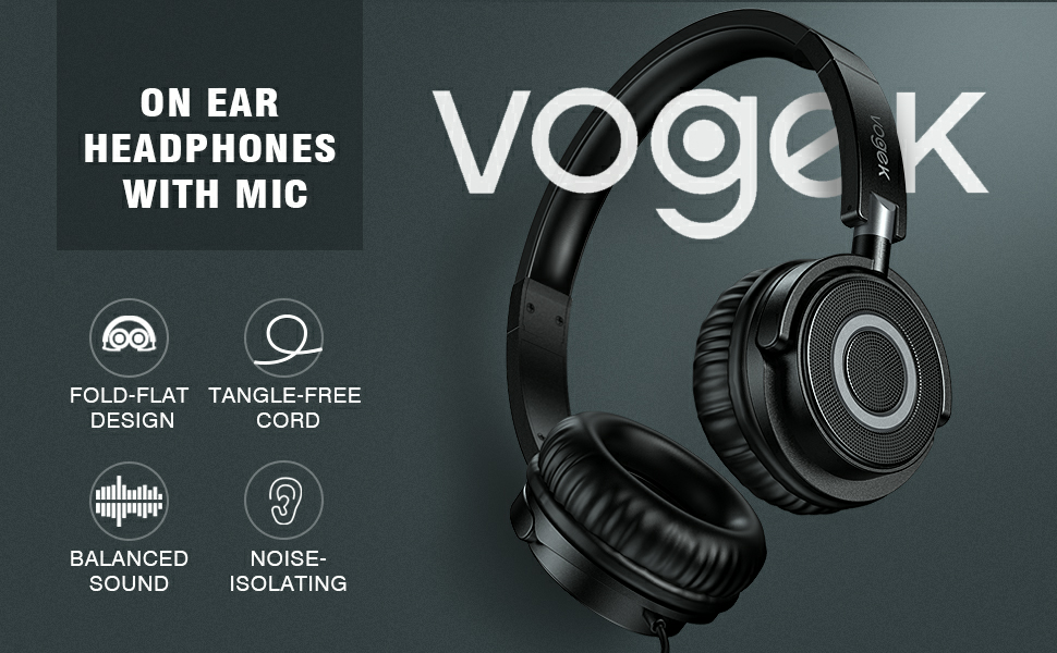 VOGEK ON EAR HEADPHONES