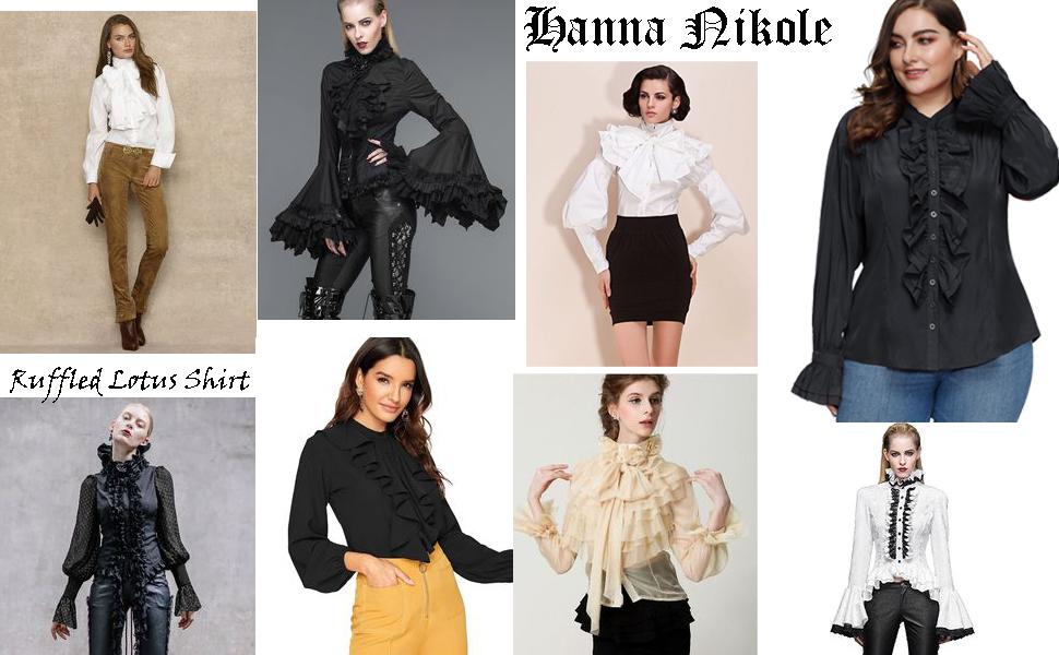 Women Plus Size Victorian Gothic Ruffled Lotus Shirt