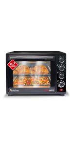 Mini four à pizza avec minuteur à chaleur tournante.