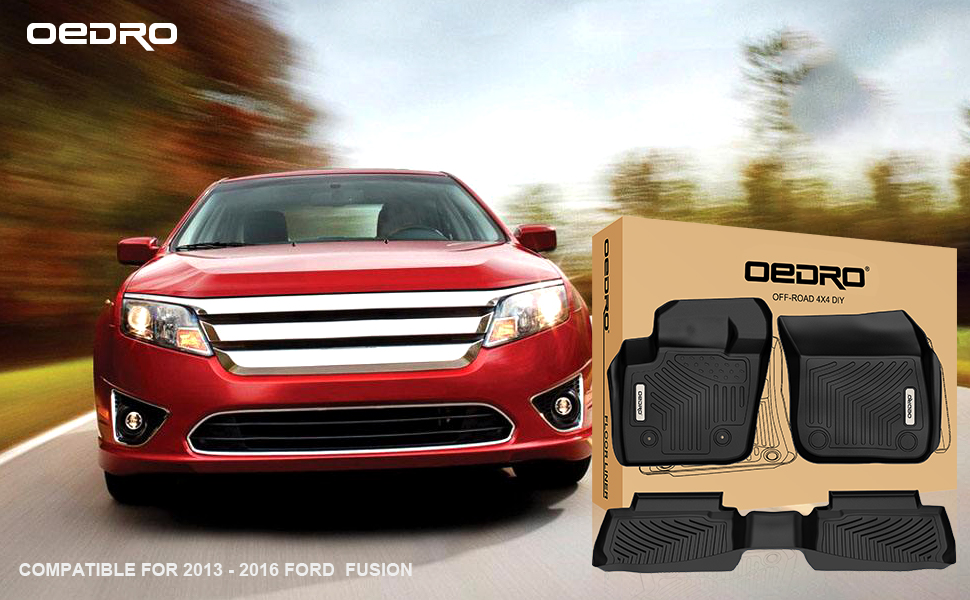 oEdRo Floor Mats Compatible for 2013-2016 Ford Fusion Energi/Titanium/Lincoln MKZ