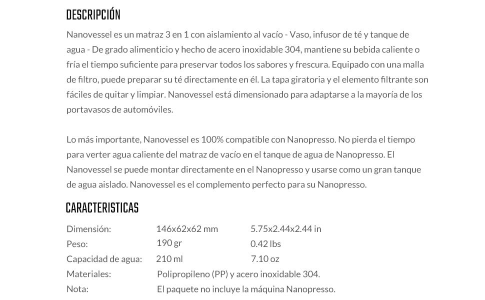 wacaco Nanovessel, matraz con Aislamiento al vacío 3 en 1 ...