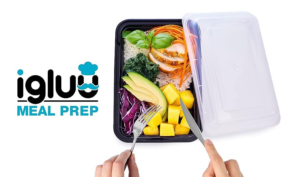 Igluu Meal Prep 1 compartiment en plastique avec couvercles à salade bols sans bpa