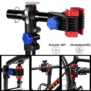 HOMCOM Reparacion Bicicletas Soporte de Pie con Bandeja Imantada Altura de 90 a 170 cm Herramientas Bici de Rotaci/ón de 360/°