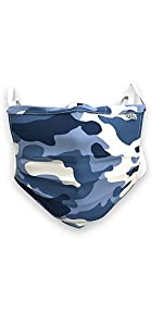 DXL Big and Tall 3-Layer Woven Cotton Mask, Blue Camo
