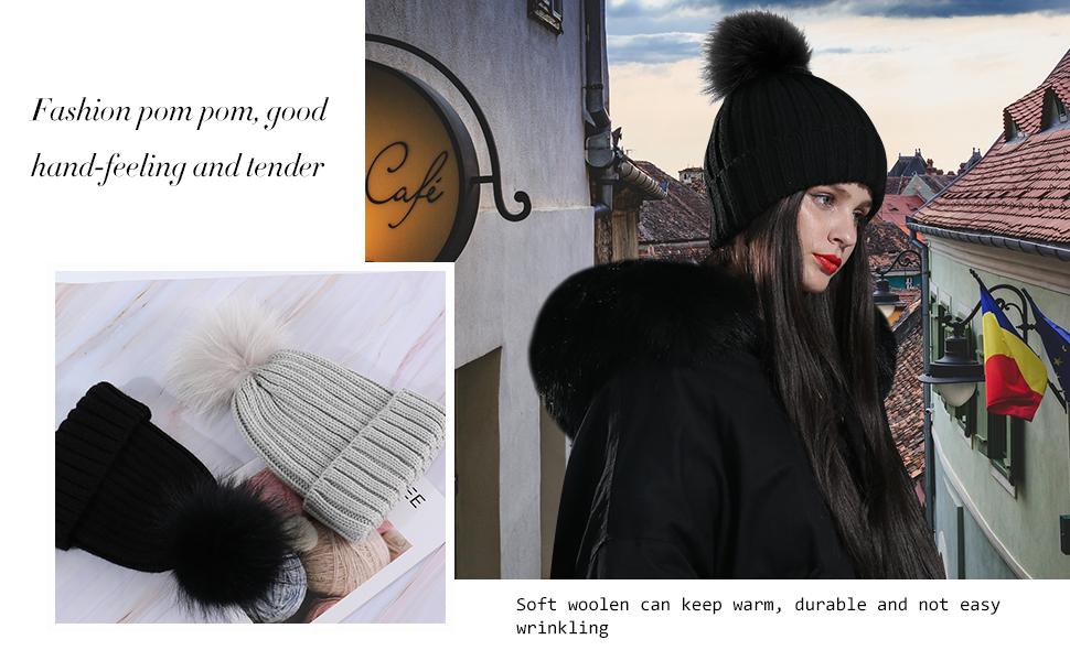 New Women/'s Soft Faux Fur Pom Pom Ball Winter Warm Fashion Beanie Hat MM3003